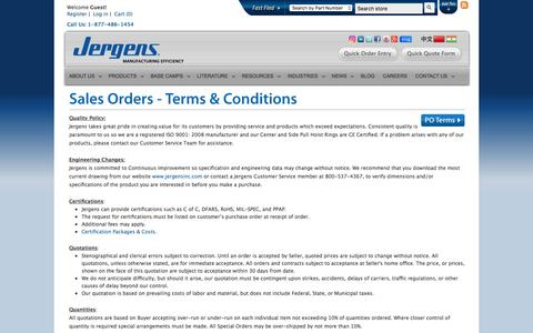 Screenshot of Terms Page jergensinc.com - Sales Orders - Terms & Conditions | Jergens Inc - captured Nov. 27, 2016