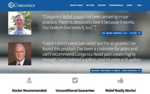 Screenshot of Home Page corganics.com - Home - captured July 22, 2018