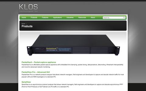 Screenshot of Products Page klos.com - Products - Klos Technologies, Inc - Klos Technologies, Inc - captured Oct. 6, 2014