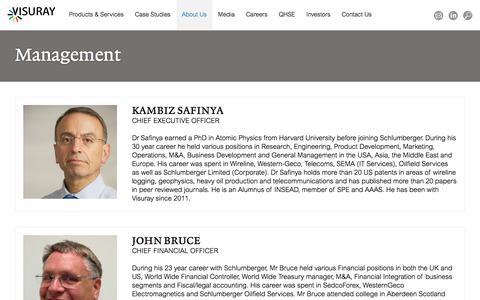 Screenshot of Team Page visuray.com - Management - Visuray - captured Nov. 8, 2017