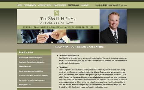 Screenshot of Testimonials Page thesmithfirmpc.com - Testimonials | The Smith Firm, PC | West Linn - captured Sept. 21, 2018