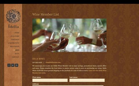 Screenshot of Signup Page idellawines.com - Idella Wines Join - Idella Wines - captured Oct. 29, 2014