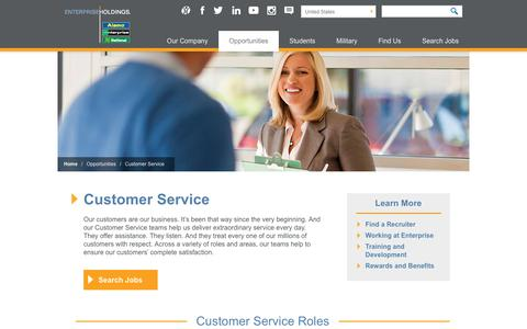 Screenshot of Support Page enterpriseholdings.com - Enterprise Holdings Careers - Customer Service - captured Oct. 21, 2018