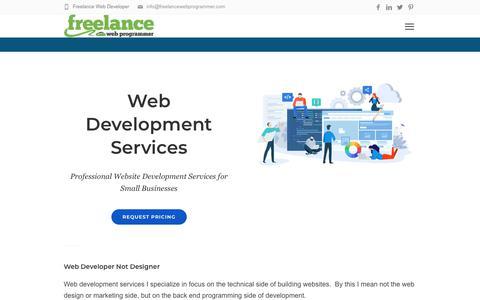 Screenshot of Services Page freelancewebprogrammer.com - Web Development Services - Small Business Website Development - captured Aug. 17, 2019