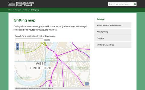 Screenshot of Maps & Directions Page nottinghamshire.gov.uk - Gritting map | Nottinghamshire County Council - captured Dec. 18, 2018