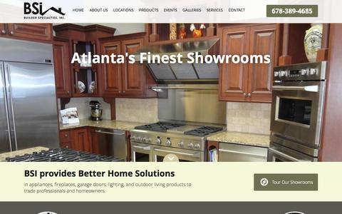 Screenshot of Products Page builderspecialties.net - Atlanta Appliances | Insulation | Lighting | Garage Doors | Fireplaces | Builder Specialties Inc. - captured Oct. 4, 2014