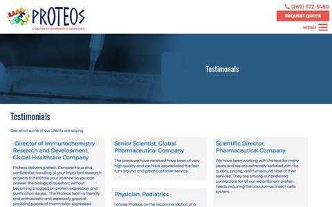 Screenshot of Testimonials Page proteos.com - Testimonials | Proteos, Inc. - captured April 11, 2017