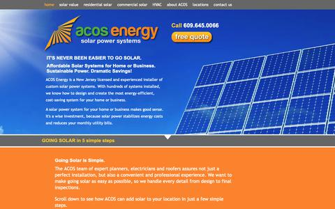 Screenshot of Home Page acosenergy.com - ACOS Energy: New Jersey Solar Power System Installations - captured Oct. 2, 2018