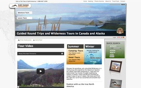 Screenshot of Home Page rubyrange.com - Guided Round Trips and Wilderness Tours in Canada and Alaska | Ruby Range Adventure | Hiking • Canoe • Fishing | Hotel & Camping Tours | Custom Trips | Fly-Drives - captured Oct. 6, 2014