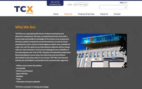 Screenshot of About Page tcxmicro.com - TCX Who We Are - captured Oct. 26, 2014