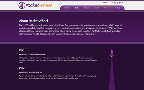 Screenshot of About Page rocketwheel.com - About - RocketWheel - captured Oct. 3, 2014
