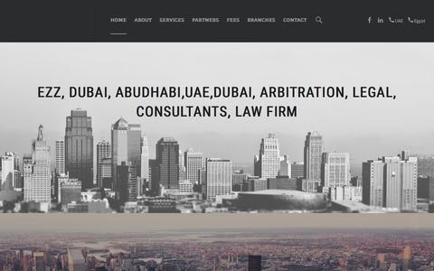 Screenshot of Home Page ezz4law.com - UAE, Dhabi, Dubai, construction, CORPORATE, CRIMINAL, FAMILY, Lawyers, arbiters, International - captured Feb. 1, 2016
