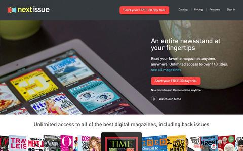 Screenshot of Home Page nextissue.com - Next Issue | Unlimited Access to 100+ Magazine Subscriptions Free Trial - captured Sept. 19, 2014