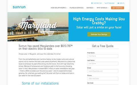 Screenshot of sunrun.com - Maryland Solar Panels & Home Solar Companies   Sunrun - captured March 31, 2016
