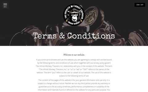 Screenshot of Terms Page theinfinitemonkeytheorem.com - Terms & Conditions — The Infinite Monkey Theorem - captured Nov. 7, 2018