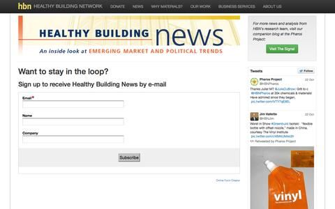 Screenshot of Signup Page healthybuilding.net - Sign up to receive Healthy Building News by e-mail - Healthy Building Network - captured Nov. 1, 2014