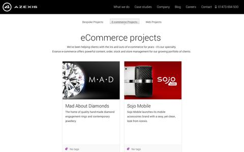 Screenshot of Case Studies Page azexis.com - E-commerce Projects - Azexis - captured Sept. 30, 2014