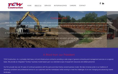Screenshot of About Page tcwconstruction.com - About Us - TCW Construction - captured Oct. 19, 2018