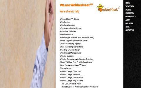 Screenshot of Site Map Page webbedfeetuk.com - Sitemap for Webbed Feet UK website design & development in Salisbury, Wiltshire - captured Sept. 19, 2014