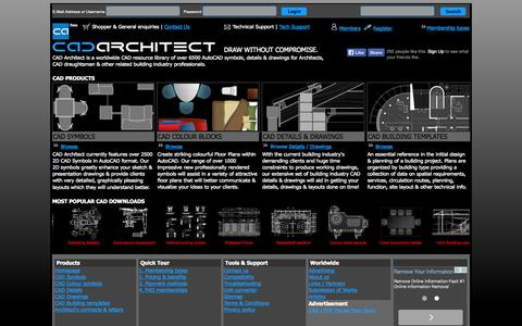 Screenshot of Home Page cad-architect.net - CAD ARCHITECT | Download CAD Blocks, Symbols & Drawings for AutoCAD - captured Sept. 24, 2014