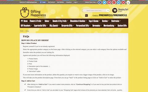 Screenshot of FAQ Page giftinghappiness.com - FAQs | Gifting Happiness - captured Sept. 30, 2014