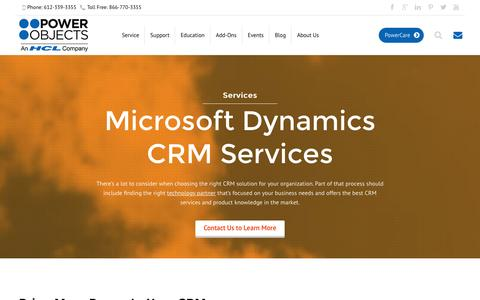 Screenshot of Services Page powerobjects.com - Microsoft Dynamics CRM Services - PowerObjects - captured Dec. 14, 2015