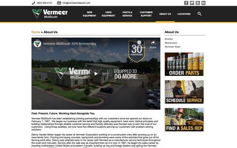 Screenshot of About Page vermeermidsouth.com - About Us | Vermeer MidSouth - captured Dec. 10, 2018