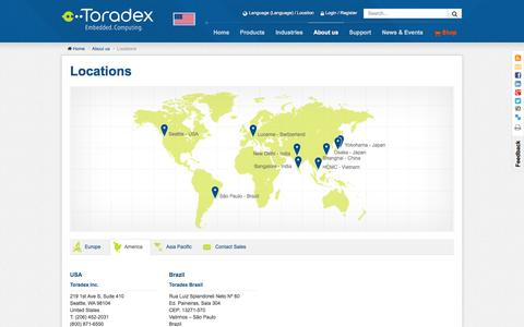 Screenshot of Contact Page Locations Page toradex.com - Locations - captured Oct. 26, 2014