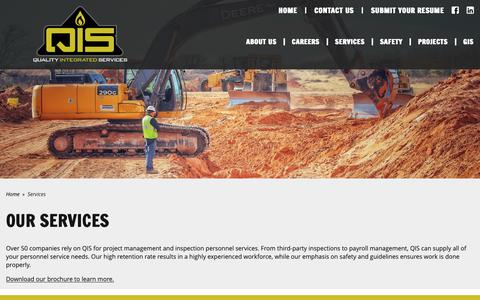 Screenshot of Services Page qisinspection.com - Construction Management and Contract Inspections | Quality Integrated Services - captured Sept. 29, 2018
