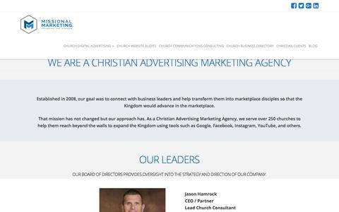 Screenshot of About Page missionalmarketing.com - Christian Advertising Marketing Agency | Missional Marketing - captured Oct. 22, 2017