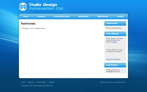 Screenshot of Testimonials Page thalia-da.com - Testimonials - captured Oct. 26, 2014