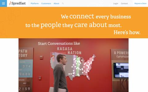 Screenshot of Home Page spredfast.com - Social Media Experience Management Software Platform | Spredfast - captured March 30, 2016