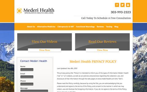 Screenshot of Privacy Page mederihealth.com - Privacy Policy | Mederi Health - captured Nov. 3, 2014