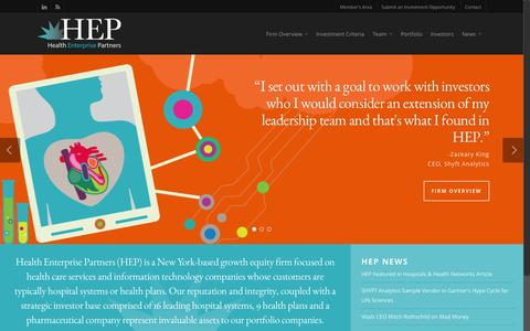 Screenshot of Home Page hepfund.com - Healthcare Private Equity Firm - Health Enterprise Partners - captured Sept. 20, 2015