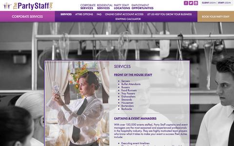 Screenshot of Services Page partystaff.com - Corporate Services | The Party Staff | Managers | Culinary | House Staff - captured Sept. 18, 2014