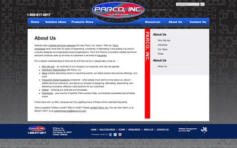 Screenshot of About Page parco-inc.com - About Us: T-Slot Aluminum Extrusions, Engineering, Design, Finished Products | Parco, Inc. - captured Sept. 30, 2014