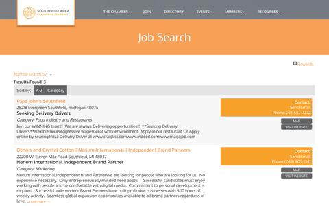 Screenshot of Jobs Page southfieldchamber.com - Job Search - Southfield Area Chamber of Commerce, MI - captured Oct. 23, 2017