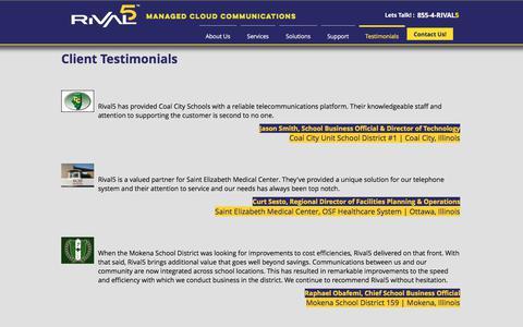 Screenshot of Testimonials Page rival5.com - Rival5 Technologies Corporation | Testimonials - captured Oct. 25, 2017