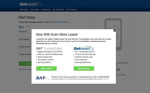 Screenshot of Signup Page getloaded.com - Create an account - Getloaded - captured July 13, 2016