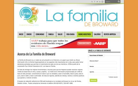 Screenshot of About Page lafamiliadebroward.com - Acerca de La Familia de Broward   La Familia de Broward - captured Sept. 27, 2014
