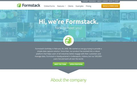 Screenshot of About Page formstack.com - About Our Team · Formstack - captured Oct. 10, 2014