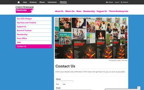 Screenshot of Contact Page cheltenhamfestivals.com - Contact Us - captured July 17, 2018