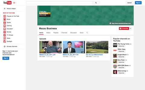 Screenshot of YouTube Page youtube.com - Macau Business  - YouTube - captured Oct. 23, 2014