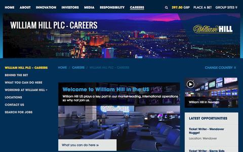 Screenshot of Jobs Page williamhillplc.com - William Hill PLC: US                 - Careers - captured Oct. 22, 2016