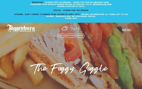 Screenshot of Menu Page skitog.com - The Foggy Goggle — Toggenburg Mountain - captured June 28, 2018