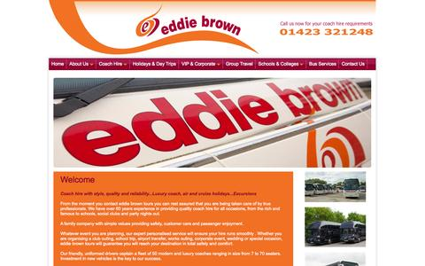 Screenshot of Home Page eddiebrowntours.com - Family run coach operator with over 60 years experience offering quality coach hire, day trips and coach tours in UK and Europe - captured Sept. 30, 2014