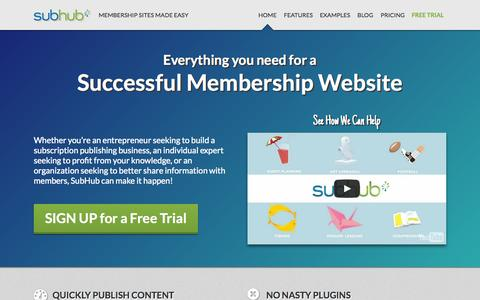 Screenshot of Home Page Case Studies Page subhub.com - SubHub - Membership Sites Made Easy - captured July 3, 2015