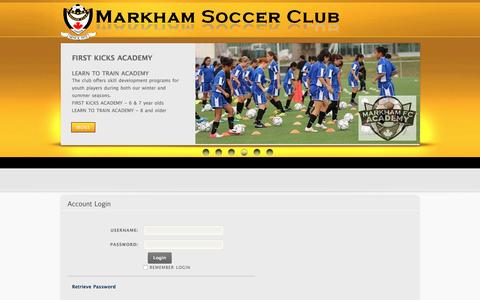 Screenshot of Login Page markhamsoccer.org - User Log In - captured Nov. 27, 2016