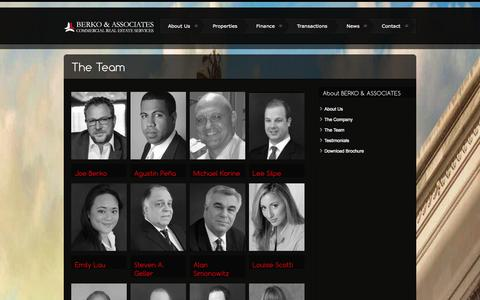 Screenshot of Team Page berkoassociates.com - The Team | Berko Associates | Investment Sales – Finance – Advisory - captured Sept. 30, 2014