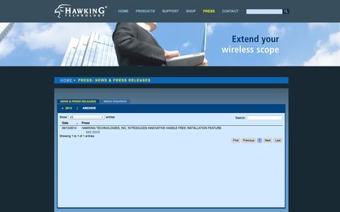 Screenshot of Press Page hawkingtech.com - Hawking Technology: High Performance Wireless Technology - captured Sept. 23, 2014
